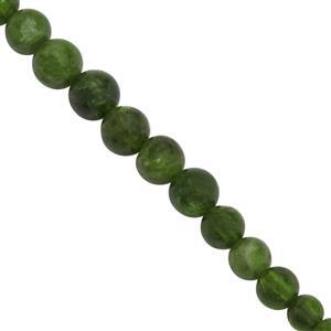 36cts Chrome Diopside Graduated Smooth Rounds Approx 3x3 to 6x6mm, 20Cms Strand