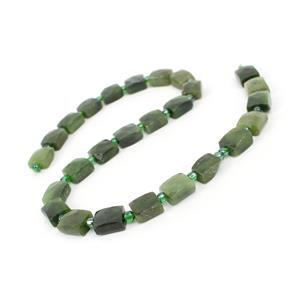 240cts Canadian Nephrite Faceted Rectangles Approx 11.5x10mm, 38cm Strand