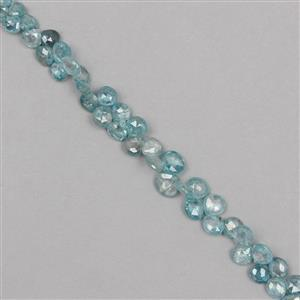 52cts Blue Zircon Graduated Faceted Drops Approx From 4 to 6mm, 16cm Strand.