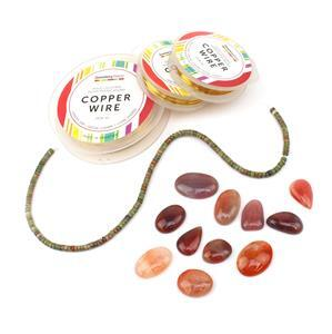 Rosy: Natural Red Botswana Agate Cabochons, Unakite wheels & gold colour wires in 3 gauges