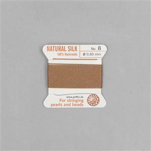 Beige Silk Thread Size 08 (.80mm, .032 in) - Beige, with needle, 2m (6.5ft)