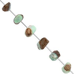 105cts Bi-Colour Chrysoprase Graduated Faceted Unusual Tumble Approx 10x5.5 to 17.5x8.5mm, 17cm Strand with Spacers