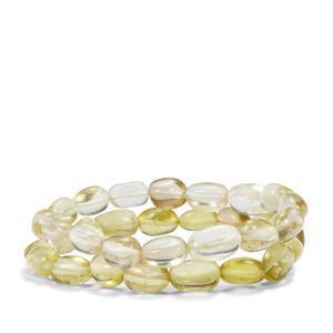 150ct Lemon Quartz Set of 2 Tumble Bead Elastic Bracelet