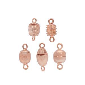 Rose Gold Plated Base Metal Magnetic Clasps - 5 Designs