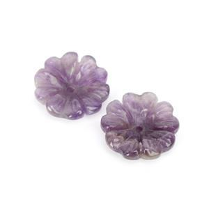 15cts Amethyst Carved Flower Bead Approx 20mm - 2pc