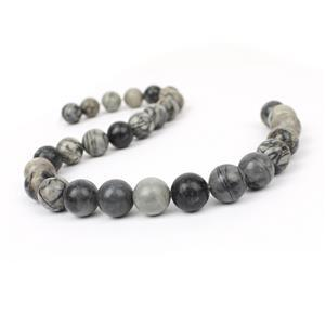 480cts Black Picasso Jasper Plain Rounds Approx 14mm, 38cm