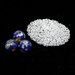 Ultramarine Atlas Globe 10mm & Sterling Silver Chain