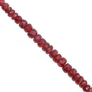 22cts Fissure-Filled Ruby Graduated Faceted Rondelles Approx 2.40X1.70 to 4.50x3mm, 15cm Strand