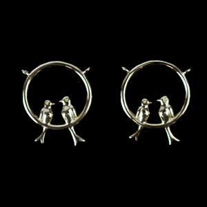 Gold Plated 925 Sterling Silver Circle of Love Birds Pendant/Connectors Approx 15x17mm 2pcs