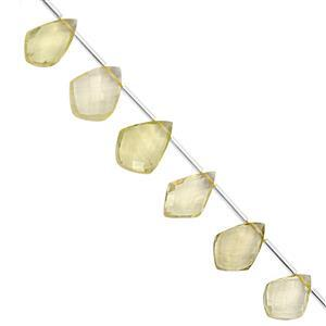 75cts Lemon Quartz Top Side Drill Faceted Kite Approx 11x8.50 to 20x14mm, 20cm Strand with Spacers