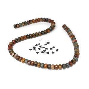Love Jasper; Red Picasso Jasper Plain Rondelles,  Base Metal Heart Spacer Beads