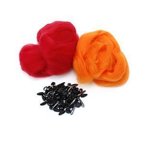 Smokey; Deep Red & Orange Wool Tops 5g, Preciosa Ornela Trade Mark Mix Black 20g