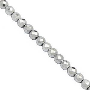 70cts Silver Haematite Faceted Round Approx 4mm , 39cm Strand