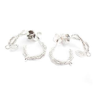 925 Sterling Silver Criss Cross Hoop Earrings With Texture & Loop Approx 12mm (2Pairs)