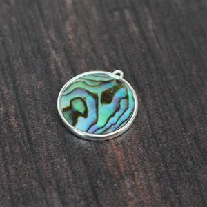 925 Sterling Silver Round Abalone Pendant Approx 22x20mm, 1pcs
