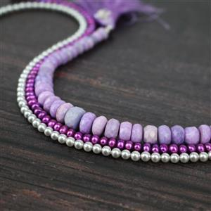 Soft Violets: Purple opal, pearls & blue grey shell pearls with Champagne gold wires
