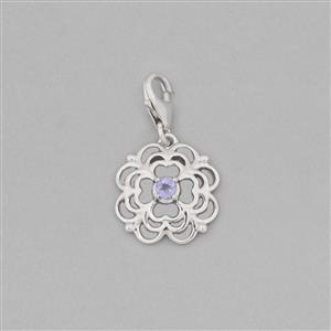 925 Sterling Silver Flower Charm With Lobster Lock Approx 24x14mm Inc. 0.10cts Tanzanite Brilliant Round Approx 3mm