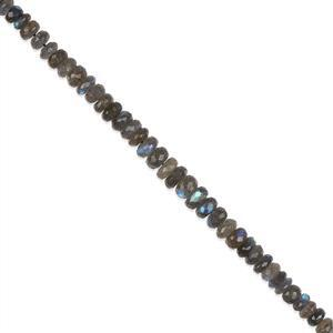 115cts Labradorite Graduated Faceted Rondelles Approx 5x2 to 9x6mm, 18cm Strand.