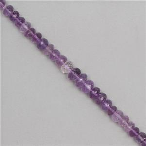 100cts Pink Amethyst Graduated Faceted Rondelles Approx 5x3 to 9x4mm, 18cm Strand.