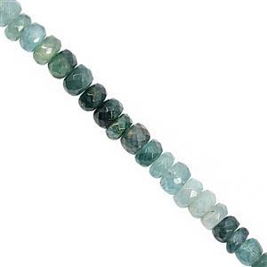 40cts Grandidierite Graduated Faceted Rondelle Approx 4x1.5 to 5x4mm, 20cm Strand