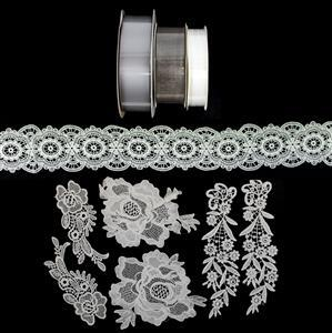 Shabby Chic Wreath; Lace, Lace Ribbon, Satin Ribbon & Organza Ribbon