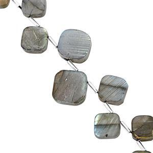 130cts Labradorite Smooth Kite Approx 11.50 to 19mm, 18cm Strand with Spacers