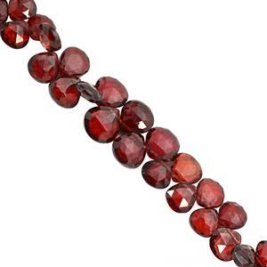 35cts Mozambique Garnet Top Side Drill Faceted Heart Approx 4 to 6mm, 15cm Strand with Spacers