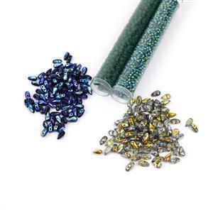 Nebula Garden; Czech DropDuo Beads, 3x6mm 2x 100pcs, Miyuki 8/0 & 11/0