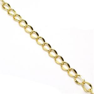 Gold Plated Base Metal Flat Diamond Link Chain, Approx. 9mmx12mm (1m)