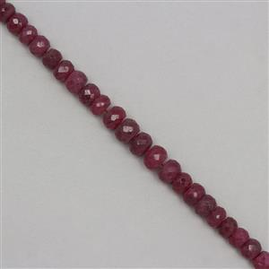 135cts Ruby Graduated Faceted Rondelles Approx 5x3 to 9x6mm, 18cm Strand.