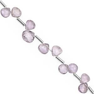 27cts Pink Amethyst Top Side Drill Faceted Heart Approx 5 to 8mm, 20cm Strand with Spacers