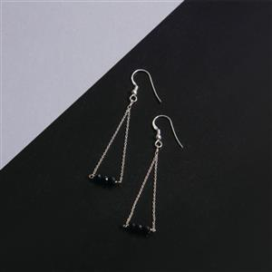925 Sterling Silver Trapeze Earrings Kit With Black Spinel Rondelles (1pair)