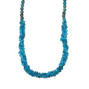 190ct Neon Apatite Sterling Silver Nugget Bead Necklace with Magnetic Claps