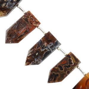 90cts Stick Agate Graduated Plain Fancy Shapes Approx 22x10 to 28x11mm, 8cm Strand.