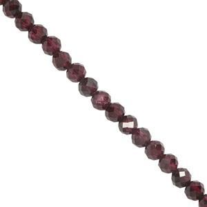 64cts Garnet Faceted Rounds Approx 3.7mm 39mm Strand