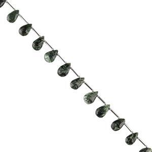 48cts Seraphinite Graduated Faceted Pears Approx 10x6 to 14x9mm, 20cm Strand.