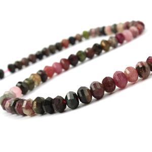 90cts Multi-Colour Tourmaline Faceted Lantern Beads Approx 6x4mm, 38cm