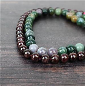 Fancy That! Fancy Jasper Rounds 10mm, Garnet Rounds 9mm, Nylon Cord 0.9mm