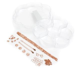 Flower Shaped Acryllic Box With 48pcs Rose Gold 925 Sterling Silver Findings