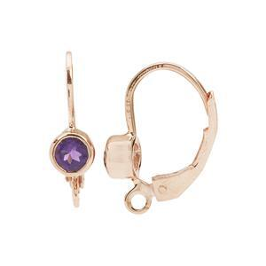 Rose Gold Plated 925 Sterling Silver Leverback Earrings With 0.60cts Amethyst Setting (1pair)