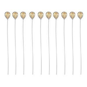 925 Sterling Silver Head Pins With 4x3mm Pear Citrine - 40mm, Width 0.5mm - (10pcs)