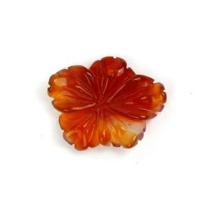 8cts Red Agate Carved Five-Petal Flower Approx 15x20mm, 1pc