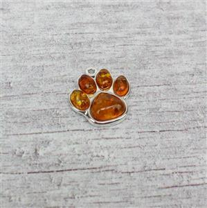 Baltic Cognac Amber Sterling Silver Paw Print Pendant Approx 18mm