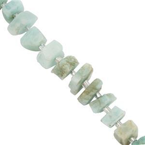 60cts Amazonite Rough Nuggets Approx 5.5x3mm to 9x5mm 18cm Strand