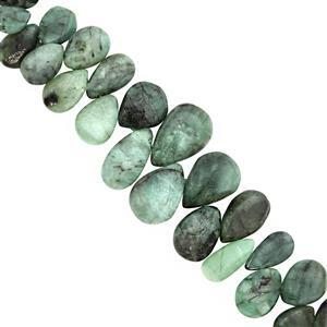 TRADE SHOW DEAL - 95cts Emerald Top Side Drill Graduated Plain Pear Approx 8x6 to 11x9mm, 17cm Strand with Spacers