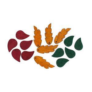 Wooden Leaves! Inc, Burgundy, Green & Brown. 25 Total.
