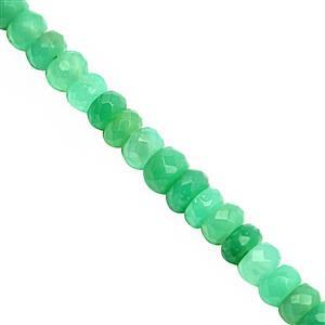 38cts Natural Chrysoprase Faceted Rondelle Approx 3.5x2 to 6x3mm, 20cm Strand