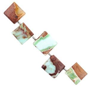 65cts Bi Coloured Green Opal Graduated Plain Squares Approx 15 to 18mm, 8cm Strand.