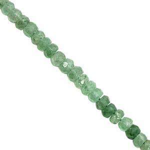 52cts Green Aventurine Quartz Graduated Faceted Rondelle Approx 4x2.5 to 6x4mm, 22cm Strand