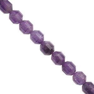 233cts Amethyst Faceted Drum Approx 8x10mm Beads Necklace with Lobster Lock & Extension -18